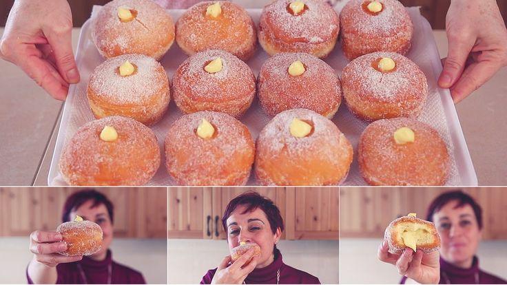 BOMBOLONI ALLA CREMA Ricetta Facile - Cream Filled Doughnuts Easy recipe