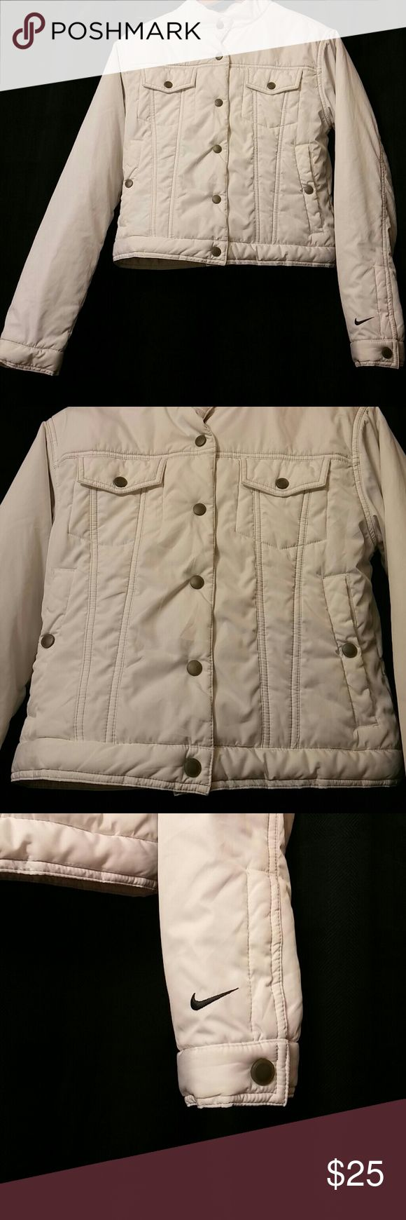 Nike Coat This is a light weight, waist hugger coa, by Nike. Excellent used condition.   All my used items are freshly laundered prior to shipping. Smoke free home. Pet friendly home. Nike Jackets & Coats