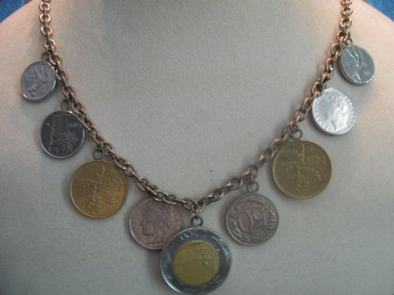 $19.99 real coins Estate 22 inch coin necklace italy rome. by SyrinxAsylumArts
