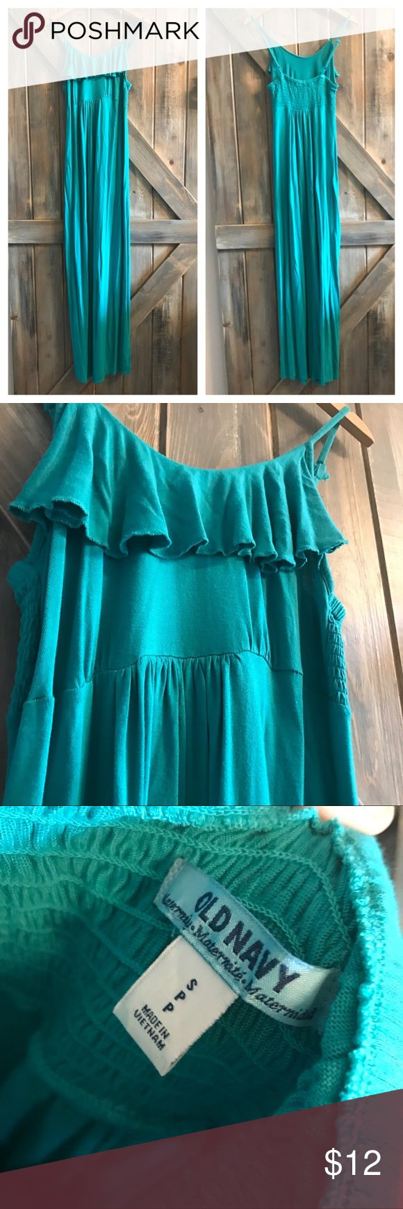 🌿NEW🌿 Old Navy Maternity Dress Great Condition. Ruffled neckline. adjustable straps. So comfortable! true to size. TEAL Old Navy Dresses Maxi
