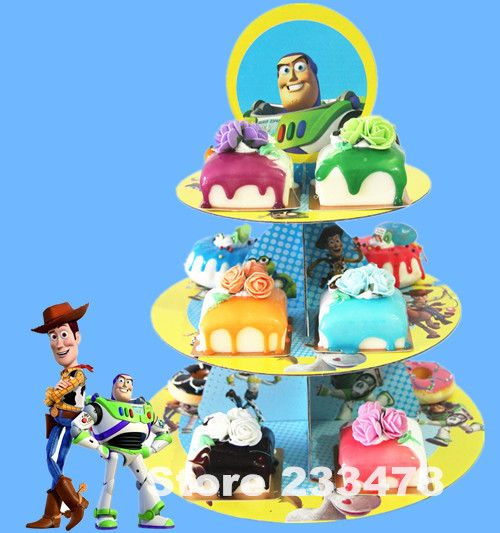 Free shipping 1 set cartoon anime toy story birthday baby shower party cardboard cupcake stand hold 24 cupcakes AW-1008