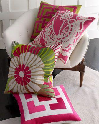 throw pillowsDecor, Trina Turk, Ideas, Turk Pillows, Green, Colors, Pink Pillows, Pillows Talk, Throw Pillows