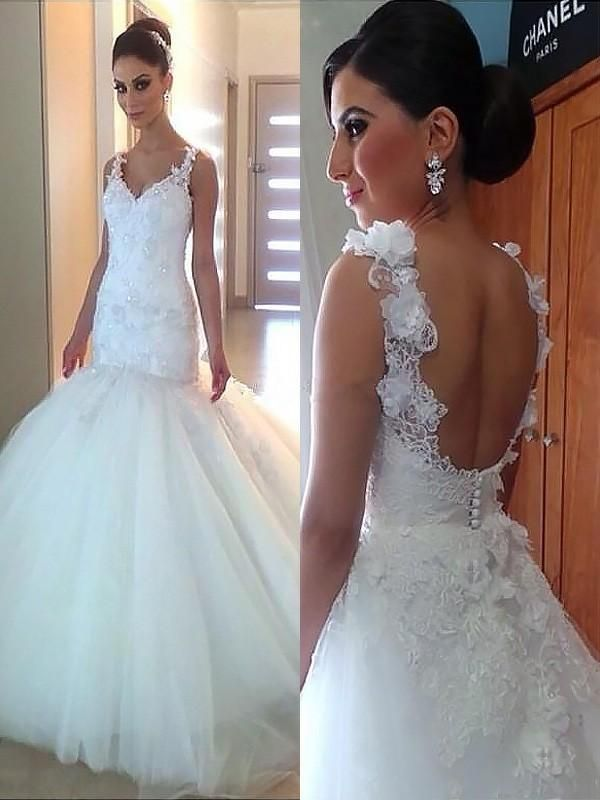 Sexy Backless Lace Straps Mermaid Wedding Dresses Online Cheap Lace