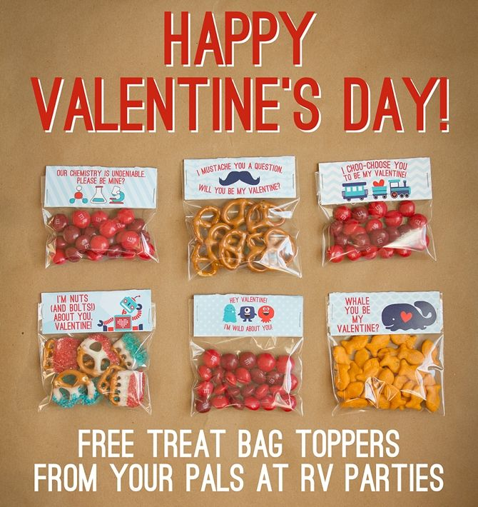 Free treat bag toppers from rv parties design stuff for Valentines day party foods