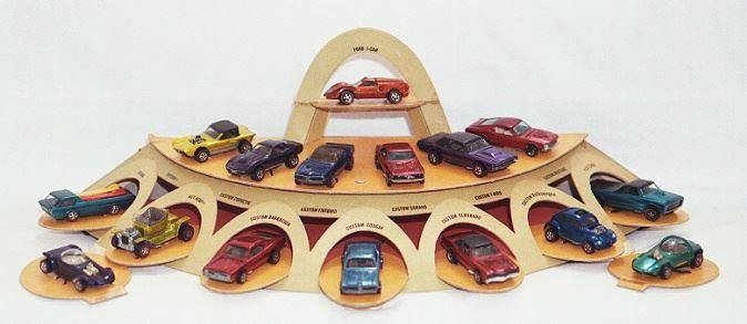 Store display for Hot Wheels toy cars, United States, 1968-69, by Mattel.