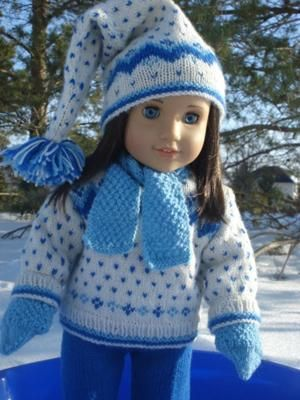 My daughter loves the fact that I knit such special clothes for her beloved Chrissa ... American Girl doll of the year: (Text is important to get your contribution approved. It should not be to short. Annette's text here is an exellent example. Kjell) I started knitting