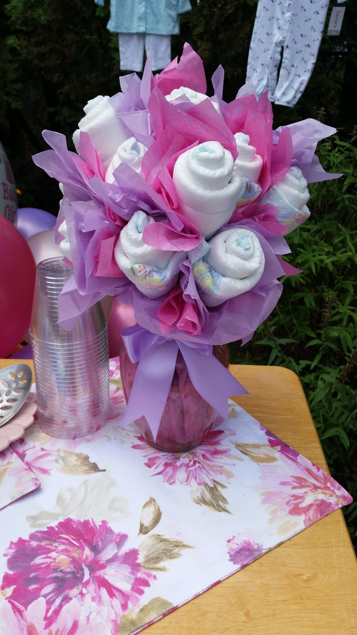 18 best images about baby shower on pinterest mason jar for Pink diaper bouquet