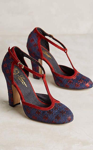 Lenora Scarpe di Lusso Amalia heels with dark orange accents.