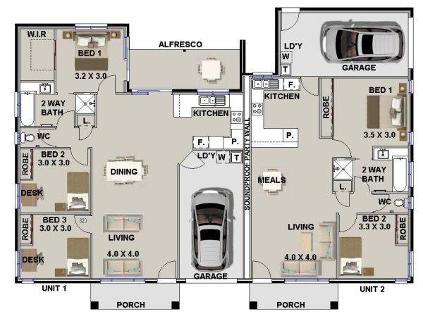 3 X 2 Bed 5 Bed Modern Duplex Plans Duplex Floor Plans Duplex House Plans Multigenerational House Plans