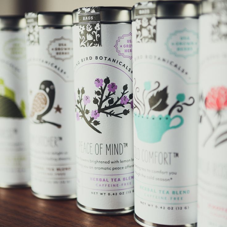 Flying Bird Botanicals at Pigment. A very feminine take on tea labels using classic imagery renditioned in modern methods. They are simple, clean and elegant labels.