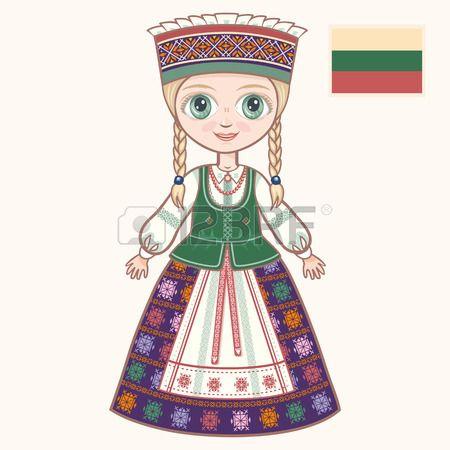 La chica en traje de Lituania ropa hist rica Lituania Foto de archivo