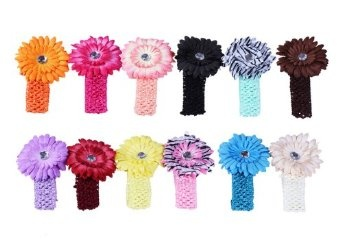 Bundle Monster 24-Piece Daisy Flower Clip Crocheted Baby Headbands / Hair Clips Mixed Color Lot for Girls - Fits 0 to 5yrs Toddler- $13.99- Amazon