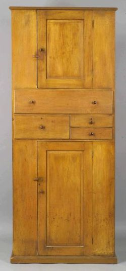 Shaker Yellow Cupboard and Case of Drawers, 1825-1850 / Enfield, Connecticut / pine and butternut built-in cupboard and case of drawers with a yellow ochre stain