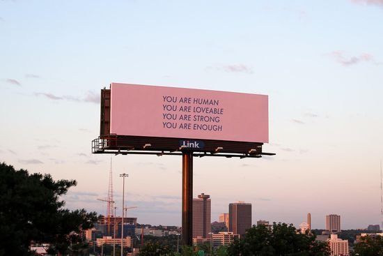 """Nicole Leth's billboard reads, """"You are strong. You are enough. Quote Aesthetic, Aesthetic Pictures, Peach Aesthetic, Words Quotes, Life Quotes, Daily Quotes, Heart Quotes, Street Quotes, Uplifting Messages"""