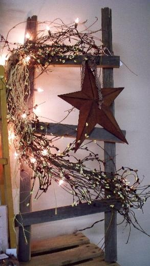 Small Barnwood Ladder Grapevine Pip Garland And Lights