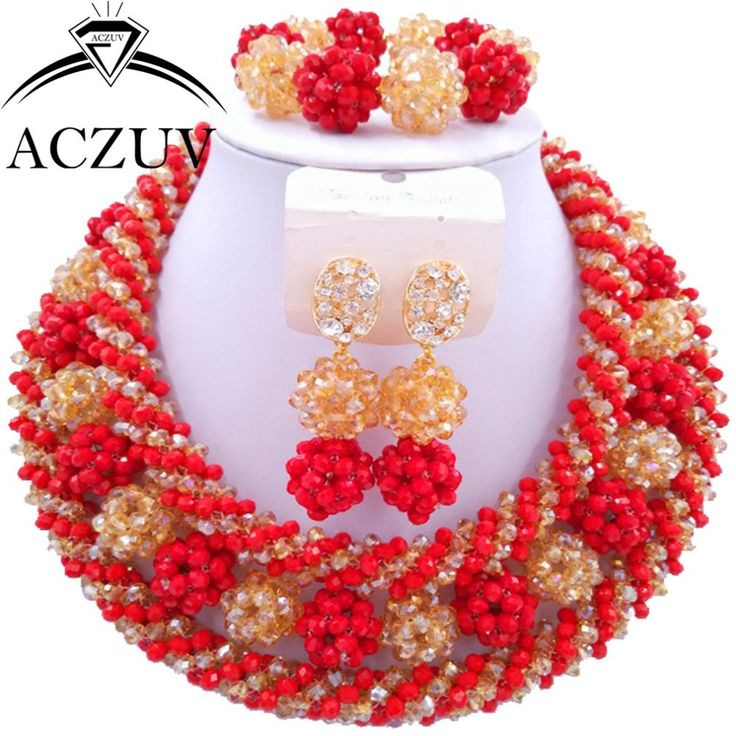 Red and Gold ab Crystal Beads Costume Jewelry Set Jewelry Sets Dubai AN009 ** AliExpress Affiliate's buyable pin. Click the image to visit www.aliexpress.com