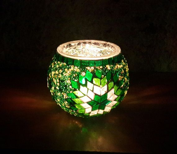 Hand Made Glass Mosaic Candle Holder