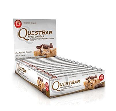 Quest Nutrition, Quest Protein Bar, Chocolate Chip Cookie Dough, 12 Bars, 2.12 oz (60 g) Each