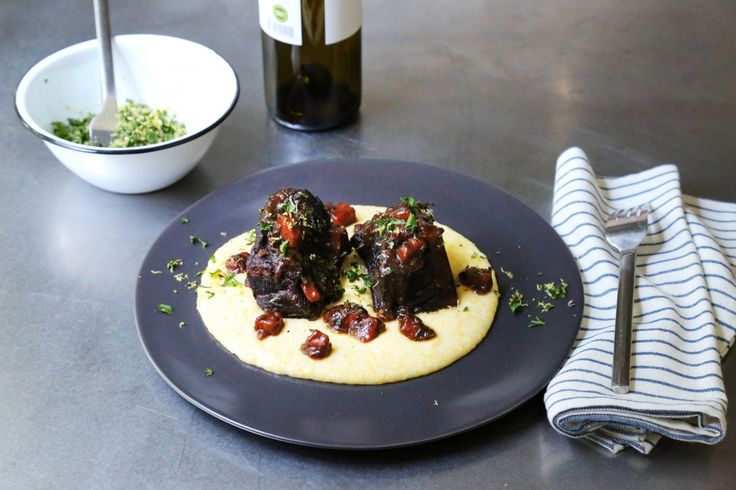 Zinfandel Short Ribs with Goat Cheese Polenta and Mixed Herb Gremolat ...