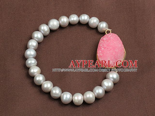Unique Style Hot Pink Crystallized Stone And Natural Grey Freshwater Pearl Elastic/ Stretch Bracelet