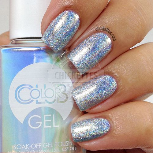 Color Club Halo Hues Holographic Gel Polish Blue Heaven Ettes Soak Off Swatches In 2018 Pinterest Nails And