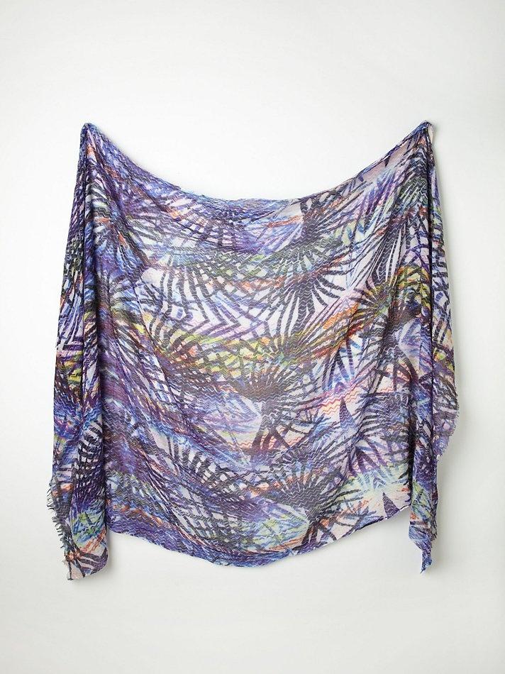 Free People Printed Silk Wool Scarf,