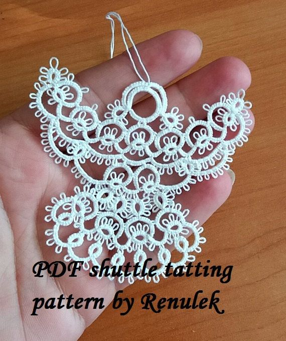 PDF Original Shuttle Tatting Pattern. WHITE ANGEL. by Renulek