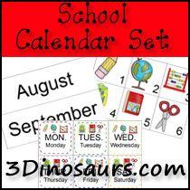 3 Dinosaurs - School Calendar Printables