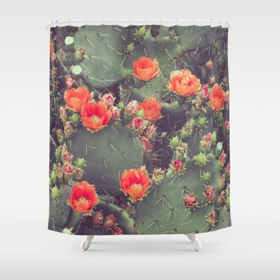 western shower curtain prickly pear cactus boho by RobinWrenDecor