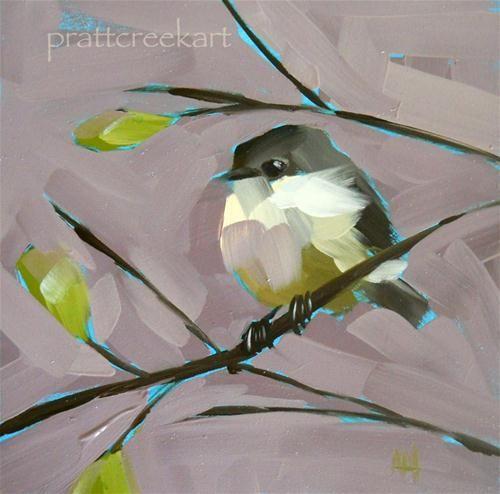 """phoebe on leafy branch"" - Angela Moulton"