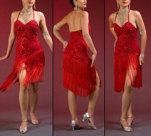 A tailored made tango dress from Latin Dance Fashions.