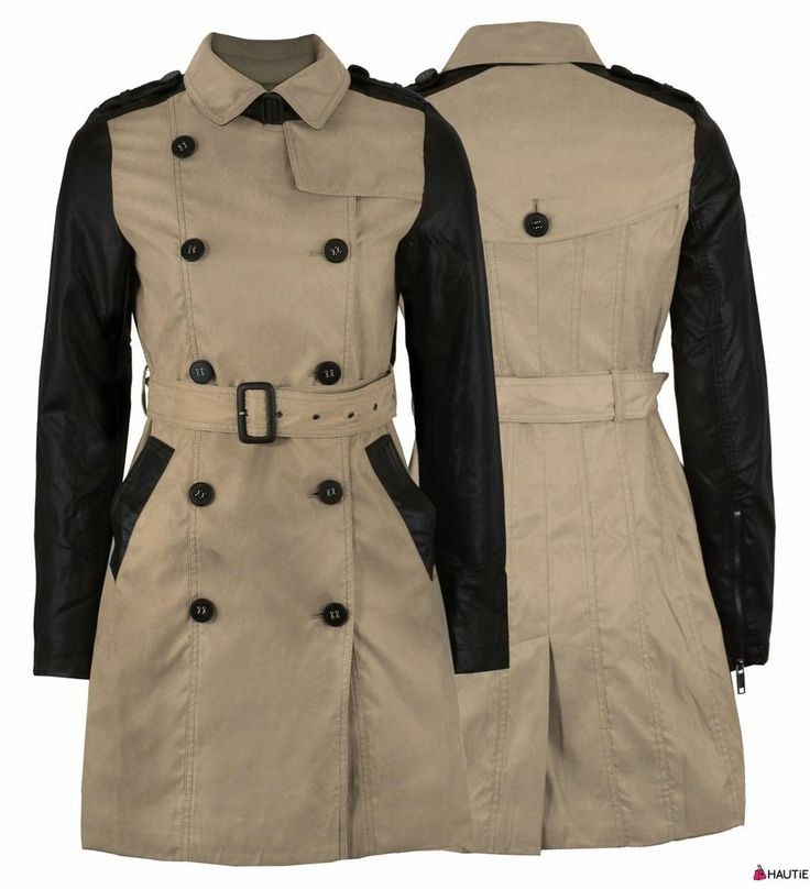 WOMENS BELTED MILITARY COAT PVC SLEEVE LADIES PARKA JACKET in Clothes, Shoes & Accessories, Women's Clothing, Coats & Jackets   eBay