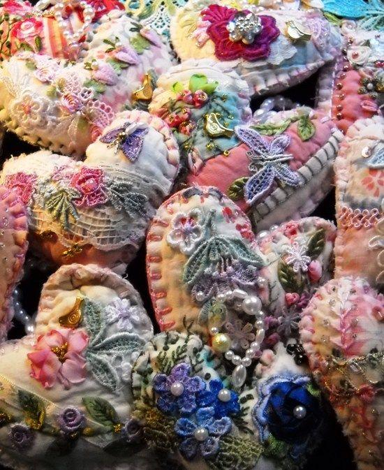 Vintage Quilt Crazy Quilt Hearts