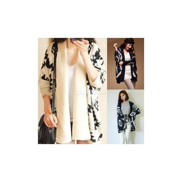 2014 New Fashion Women's Geometric Pattern Open Front Loose Sweater... (86 HKD) via Polyvore