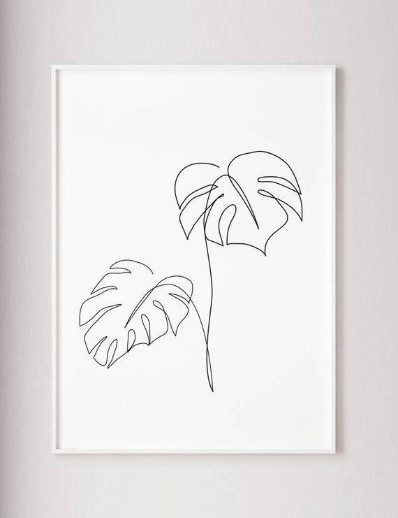 Monstera Line Art Tropic Leaves Print Abstract Botanical
