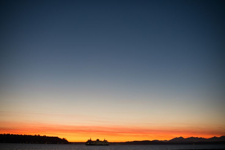 Pacific Northwest Ferry at sunset. By J. Lundin