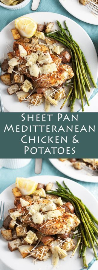 Sheet Pan Mediterranean Chicken and Potatoes - A super simple Mediterranean-style sheet pan recipe featuring roasted chicken breast, potatoes, and asparagus topped with zesty artichokes and lemon.