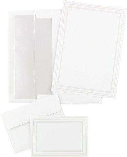 Triple Pearl White Embossed Wedding Invitations & Note Card Kit by Masterpiece Studios. $26.95. Our Triple Pearl White Embossed Wedding Invitations are sure to impress your guests at your next wedding, anniversary, or other special occasion! This kit includes everything you need to make your invitations easy and beautiful! Triple Pearl White Embossed Wedding Invitations & Note Card Kit Includes: 50 invitations 50 pearl-lined white envelopes 50 fold-over note cards...