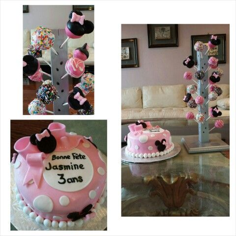 Anna's cake creations!  Minnie Mouse themed chocolate cake with bubble gum fondant, paired with matching vanilla cake pops!