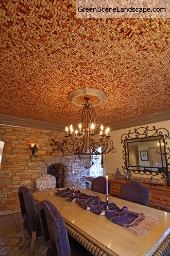 Cork Ceiling Dining Room - 18,000 wine bottle corks were cut in half and individually glued to the ceiling