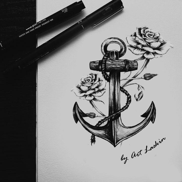 Anchor sketch by Art Laskin, anchor, sketch anchor, art laskin sketch