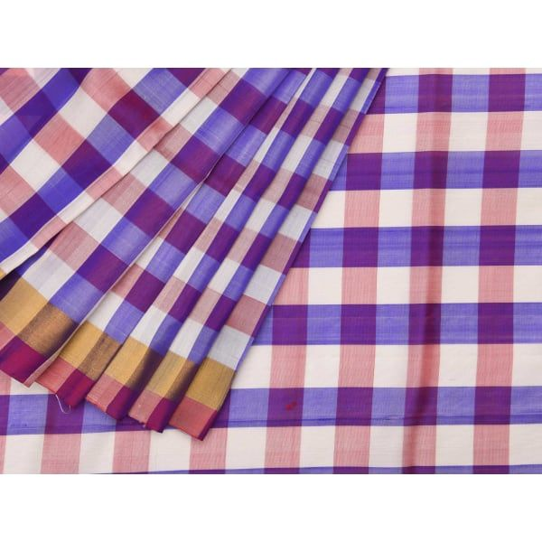 Purple Uppada Silk Handloom Saree with Half Plain-Half Checks Design u1206