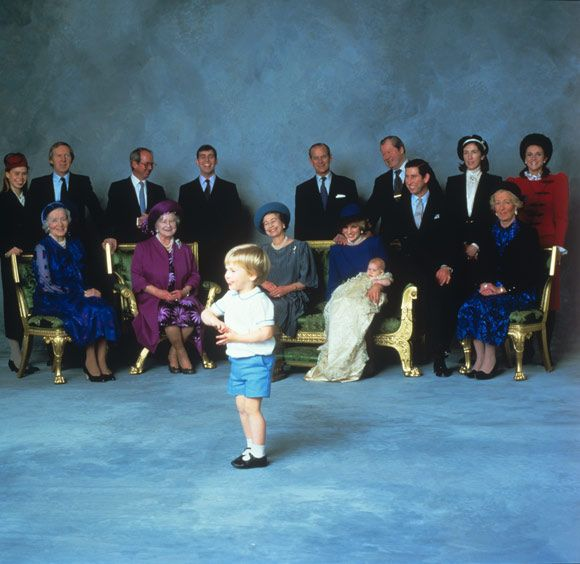 Prince William's high spirits at his brother Harry's christening in 1984 reduces everyone to giggles. This group picture was taken after th...