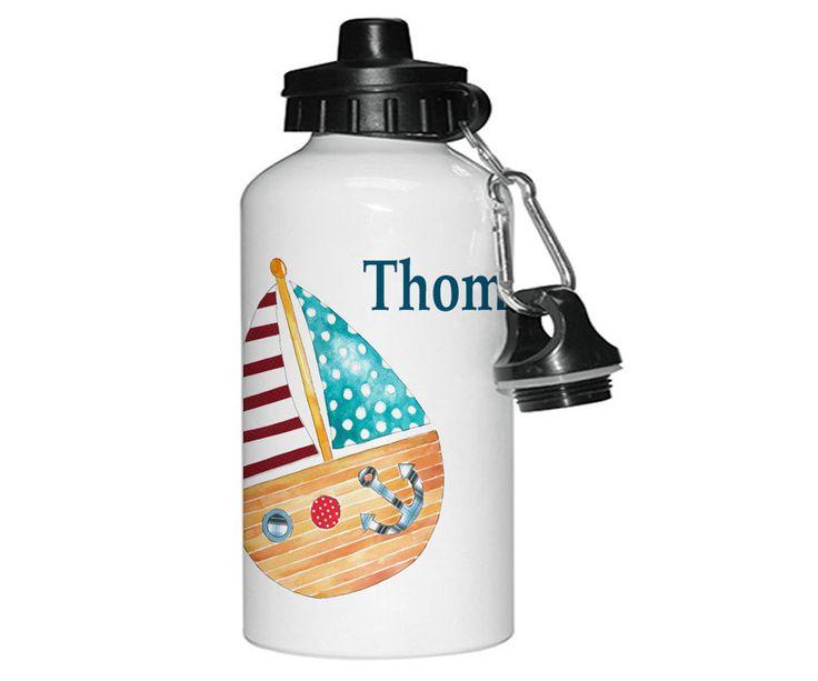 Personalised Drinks Bottle,Personalised Water Bottls,Personalised Gifts,Aluminium Bottle,Kids Bottles,Boat by TigerlilyprintsLtd on Etsy