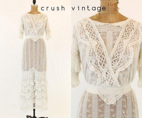 1900s Edwardian Wedding Dress XXS / 1900s Lace by CrushVintage, $425.00