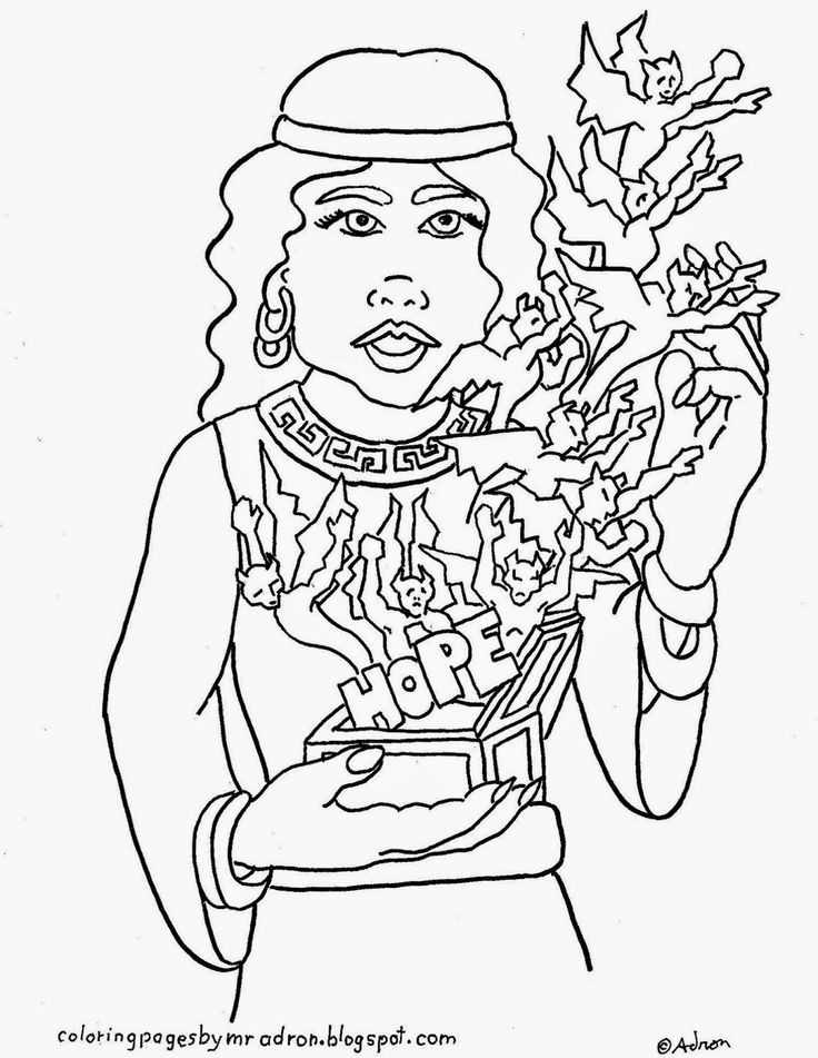 Printable coloring page, Pandora's box Greek Myth, see