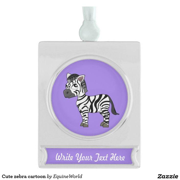 Cute zebra cartoon silver plated banner ornament