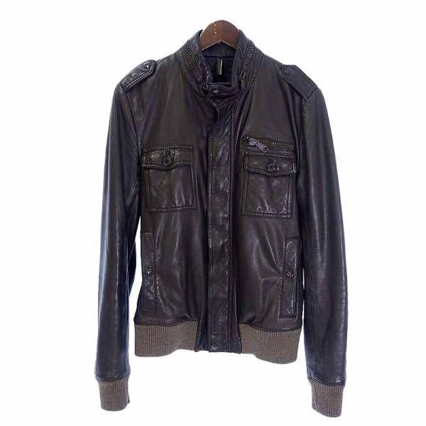 ディオールオム/DIOR HOMME 05AW エポレット付ラムレザーライダースジャケット サイズ46 ブラック系_画像1