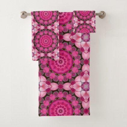 Beautiful pink Blossoms 02.5 Nature Mandala Bath Towel Set - flowers floral flower design unique style