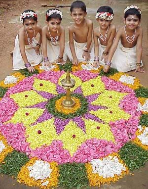 Onam! We make rangoli with flowers for  ten days.. Of course the tenth day is The onam.